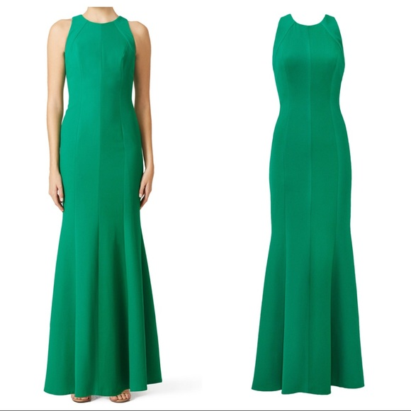 Carmen Marc Valvo Dresses | Emerald Crepe Gown | Poshmark